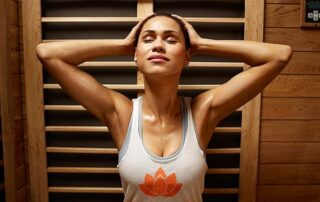 woman in infrared sauna
